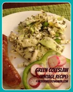 Image of green coleslaw vintage recipe ©ModernRetroWoman.com
