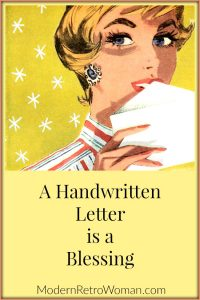 Woman with letter for blog posting: A Handwritten Letter is a Blessing ModernRetroWoman.com